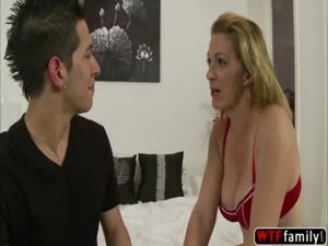 MILF blonde Roxanne Hall fucking her stepsons one by one in her room